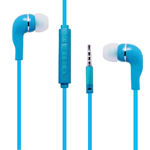Light Blue Color 3.5mm Audio Earphone Headphones Headset Ear