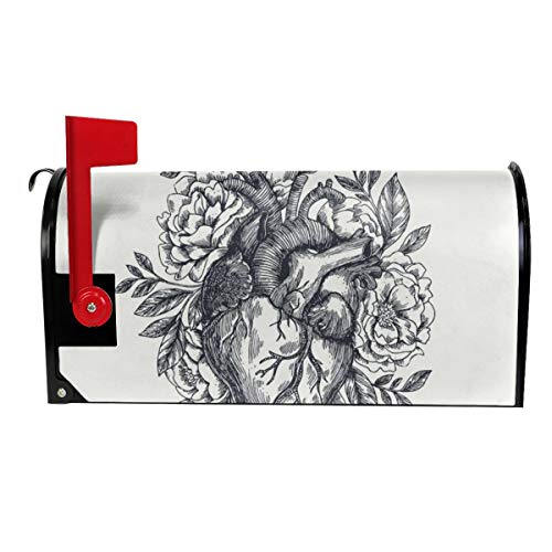 DLZXHomer Mailbox Cover Valentines Day Anatomical Heart Flowers Letter Post Box Cover Wrap Magnetic Mailbox Wraps Standard Size Decoration Welcome Home Garden Outdoor (21 X 18 in, 25.5 X 21 in) W X L
