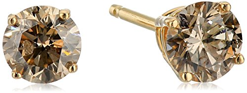 - Champagne Diamond 14k Yellow Gold Stud Earrings (1/2cttw, I2-I3 Clarity)