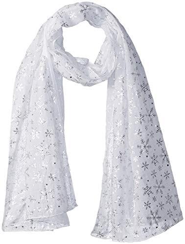 Lavello Designer Scarf, White W/Silver Snowflakes