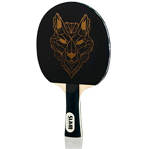 Slam Design Co Wolf Table Tennis Paddle Designer Ping Pong Racket for Beginner and Advanced Players - Premium Rubber and Long Wood Handle - Ships with Slam Logo Bag