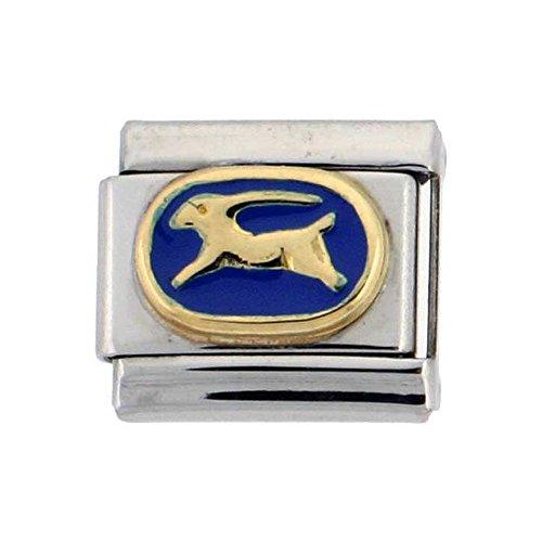 Charm Italian Capricorn - Sabrina Silver Stainless Steel 18k Gold Capricorn Zodiac Sign Charm for Italian Charm Bracelets