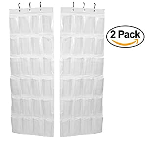 2 Pack - Over the Door Shoe Organizer, 24 Pockets, White