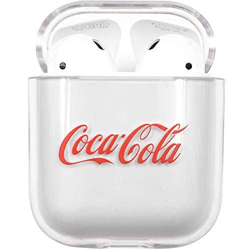 Hard Plastic Transparent Clear Cocacola Case for Apple Airpds 1 2 Wireless Earbuds Luxury Designer High Fashion Street Hot Brand Unique Cool Fun Gift Boys Son Kids Men