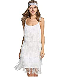 Women' Sexy Open Back Skirt Gatsby Cocktail Party Fringed Flapper Costume Dress