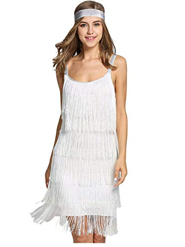 L'VOW Women' 1920s Tassels Straps Dress Gatsby Cocktail Party Fringed Flapper Dresses with Headband (S, X02- White)