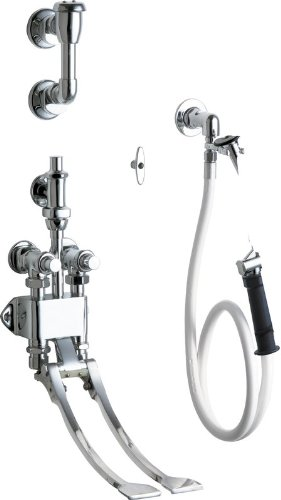 """Chicago Faucets 910-G777-21K Wall Mounted Pedal Valve Concealed Bed Pan Flusher with Volume Control Angle Valve, 48"""" Vinyl Hose and Loose Key Stop -  910-G777-21KCP"""
