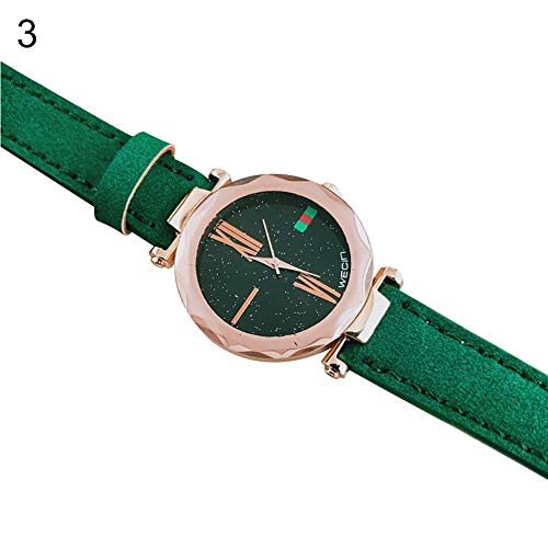 - Wrist Watches Fashion Accessories, Women Trendy Time Star Dial Pattern Faux Leather Band Quartz Wrist Watch Jewelry - Green