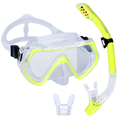 Swimming Goggles Snorkel Mask with Anti-fog Silicone Set (Yellow) - 7