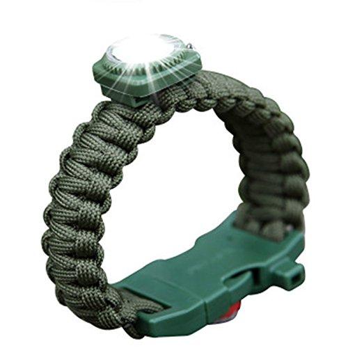 Tools & Equipments - Outdoor Led Light Survival Bracelet Cycling Parachute Rope Bracelet Compass Bracelet Knife - Guided Illumination Endurance Wristband - (Hex Band Saw)
