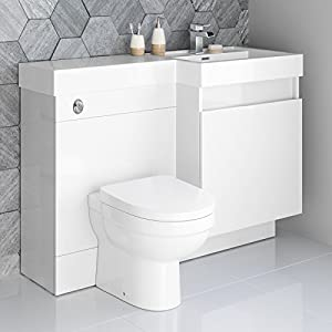 1200mm White Vanity Unit Modern Toilet Bathroom Sink Right Hand Storage  Furniture