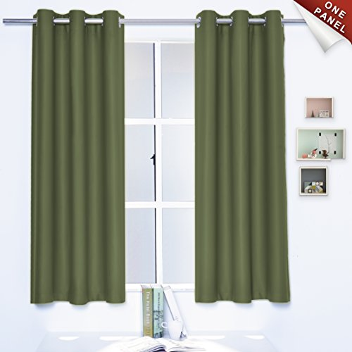 Sheeroom Blackout Curtains Thermal Insulated with Grommet Top for Kids Room, 42 x 63 inch, Olive, 1 Curtain Panel (Olive Kids Curtains)
