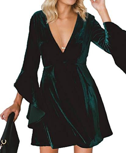(Womens Deep V Neck Flare Bell Sleeve Velvet Swing Pleated Mini Dress for Cocktail Party Club Green)