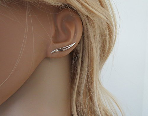 Sterling silver wave ear climber earrings for girls and women, pair