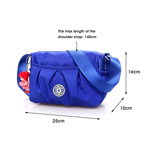 Purple handbags Waterproof Strap Purse Bags Shoulder Bag Bags Handbag Shoulder Ladies Adjustable Small body Shoulder Womens Travel Multi Nylon Pockets Blue Cross 4wF0qqR