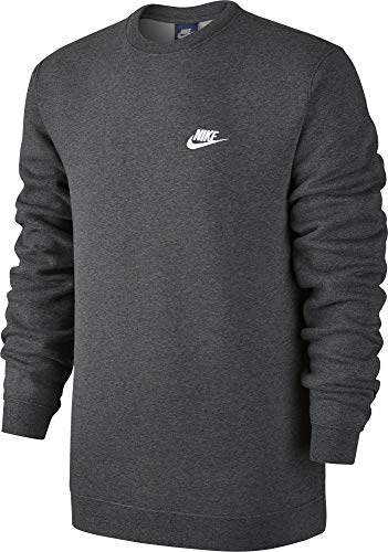 Nike Men's Sportswear Crew Charcoal Heather/White Size Small by Nike (Image #3)