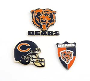 NFL Chicago Bears Three Piece Collector's Pin Set, Silver