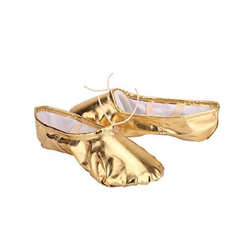 Tessuto Ballo per da Scarpette Scarpe Balletto Classica con Danza VASHCAME Elastico Oro nRqSxE