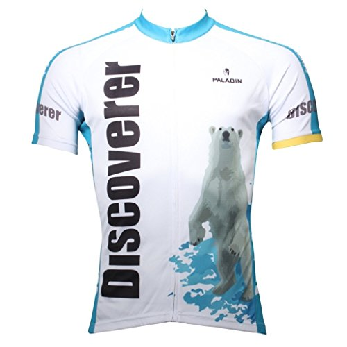 Paladinsport Men's Short Sleeve Discovery Polar Bear White Cycling Clothing Asian Size 4XL (Discovery Rain Jacket Womens)