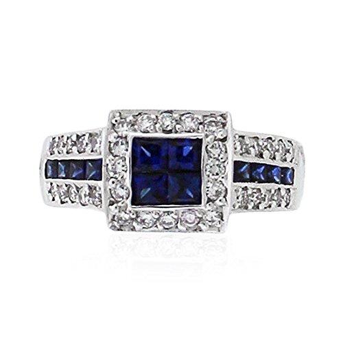 1.54 Carat Diamond & Sapphire Cocktail Ring 18K White Gold