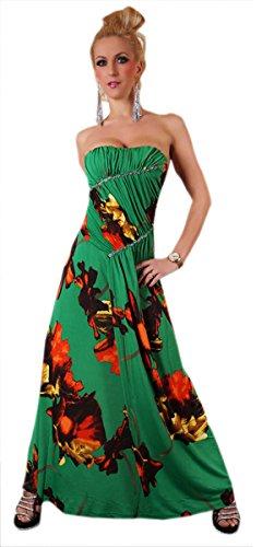Bustier Femmes Robe Maxi Floral Avec Diamontes Vert