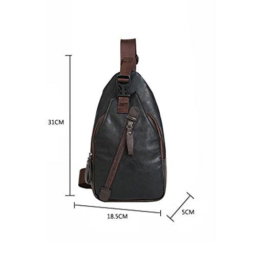 Pu Breast 5 Pocket Backpack Bag Black X Wewod 5 Shoulder H Fashion l Shoulder Cm W 31 Men X 18 Case Bag Bag c4nq0z0TBW