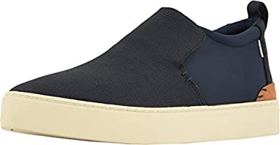 TOMS Mens Paxton Navy Textural Canvas Water-Resistant Slip-Ons Size 9.5