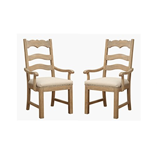 (Emerald Home Barcelona Rustic Pine and Beige Dining Chair with Curved Arms, Upholstered Seat, And Nailhead Trim, Set of Two)