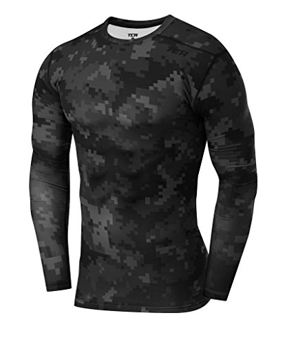 TCA Men's Pro Performance Digital Combat Long Sleeve Thermal Compression Base Layer Top - Black Stealth, Small