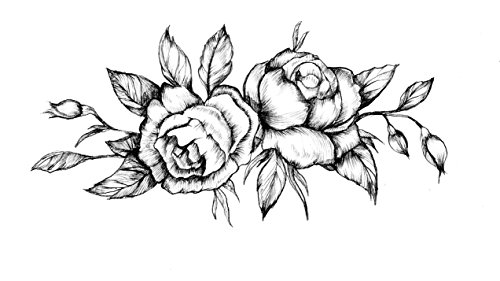 Friends Tattoos Temporary - Black Roses Flower Temporary Tattoo - Realistic Body Art - Friend Gift - Accessory - Set of 2 Tattoos Prints, Size 3