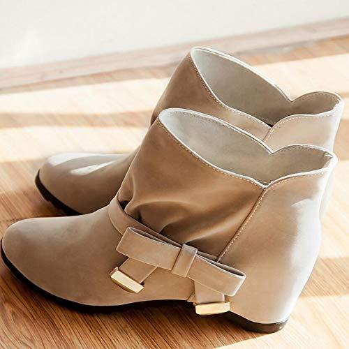 Wildleder Heel Kurze Stiefel Erhöhten Damenschuhe Damenstiefel Bogen Stiefel High Große Herbstliche Wq0ZRgPnwP