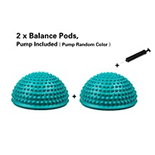 Haolong Balance Pods 2pcs (blue) with Pump,Durian Ball Massage Mat Massage Trigger Point Body Muscle Exercise Fitness Balance and Motor Skills Training 16CM