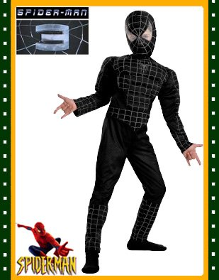 Black Deluxe Spiderman Costume - Muscle Torso & Legs-10-12 - coolthings.us