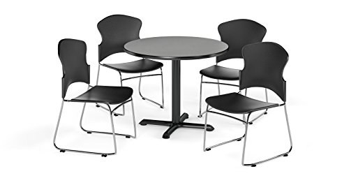 OFM PKG-BRK-033-0006 Breakroom Package, Gray Nebula Table/Black Chair by OFM