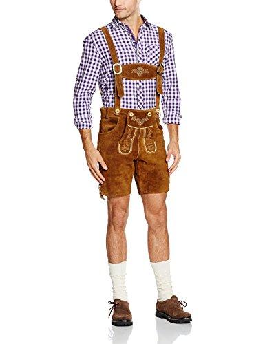 Gaudi-Leathers Herren Trachten Lederhose Shorts kurz mit Träger in Braun (Hellbraun 040), W39 (Herstellergröße: 52)
