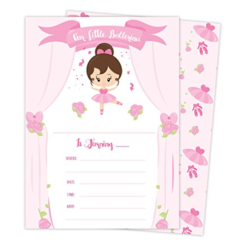 Ballet Birthday Invitations - Ballerina Happy Birthday Invitations Invite Cards (25 Count) with Envelopes & Seal Stickers Boys Girls Kids Party (25ct)