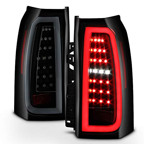 Chevy Tahoe Tail Lamp - ACANII - For 2015-2018 Chevy Suburban Tahoe Black Smoked Full LED Tube Tail Lights Brake Lamps Driver & Passenger Side