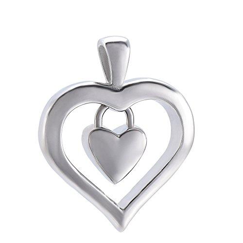 Elegant Casket - Heart In Heart Elegant 316L Stainless Steel Women Necklace Memorial Ashes Keepsake Casket Memory Jewelry (Silver)