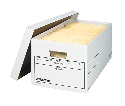 OfficeMax Medium-Duty Fast Set-Up Storage Boxes, Legal Size, 10in.H x 12in.W x 24in.D, 60% Recycled, White, Pack Of 12
