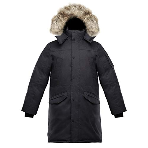 Triple F.A.T. Goose SAGA Collection | Eberly II Mens Hooded Goose Down Jacket Parka with Real Coyote Fur (Medium, Charcoal) ()