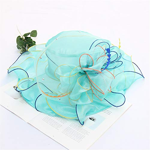 Landscap Fascinators Hat Church Derby Cap Kentucky Tea Party Wedding Hat Headwear for Girls and Women Light Blue