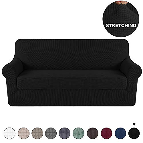 Turquoize 2 Pieces Sofa Slipcover Black Couch Covers Lycra Furniture Protector Spandex Sofa Covers Form Fit Slip Resistant Stylish Furniture Protector Sofa 3 Seater (Sofa, Black)