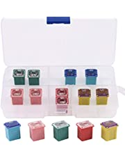 Glarks 10Pcs Automotive Low Profile Box Shaped Mini Fuse 20A 30A 40A 50A 60A Fuse Assortment Kit for Ford, Chevy/GM, Nissan, and Toyota Pickup Trucks, Cars and SUVs