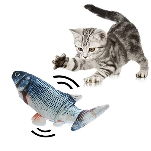 Electric Cat Toy Simulation Plush Fish Shape Toy Doll, Realistic Cat Kicker Fish Catnip Toy, Funny Interactive Pets Pillow Chew Bite Kick Supplies for Cat/Kitty/Kitten Fish Flop