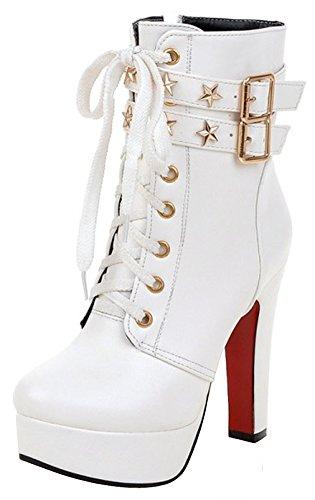 Summerwhisper Women's Trendy Studded Stars Buckled Belt Lace up Almond Toe Chunky High Heel Platform Short Boots White 8 B(M) US