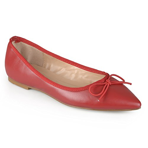 Journee Collection Womens Pointed Toe Bow Ballet Flats Red