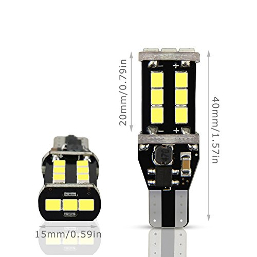 AUXITO 912 921 LED Backup Light Bulbs High Power 2835 15-SMD Chipsets Extremely Bright Error Free T15 906 W16W for Back Up Lights Reverse Lights, 6000K White (Pack of 2) by AUXITO (Image #6)