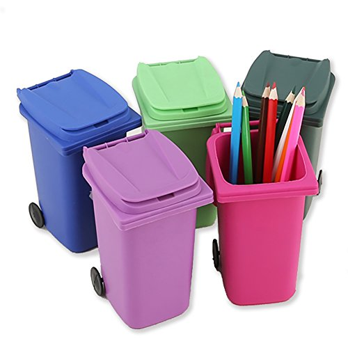 Mini Trash Bin Desktop Organizer Trash Can Pencil Holder Garbage Cans with Wheels for Home Office (Dark Green)