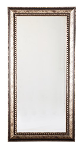 "Signature Design by Ashley Dulal Accent Mirror, Antique Silver Finish - TRADITIONAL FRAMED MIRROR: Whether you prefer your mirror hanging or standing, this large piece is sure to make a grand impression in your living room, bathroom or bedroom decor STYLISH CRAFTSMANSHIP: Both decorative and practical, this accent piece is made of mirrored glass and framed in a silver tone with 1"" bevel. D-ring bracket hanger included ANTIQUED CHARM: Egg and dart detailing punctuate the look, giving it the feel of a cherished family heirloom - mirrors-bedroom-decor, bedroom-decor, bedroom - 41Mh8 bEl0L -"