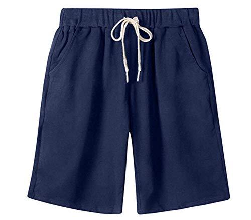 (VtuAOL Women's Casual Elastic Waist Knee Length Bermuda Shorts with Drawstring Dark Blue Asian 3XL/US S)